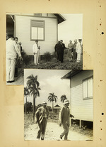 Two photographs of people near house