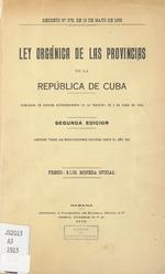 Ley orgánica de las provincias de la República de Cuba