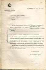 Carta del Gobierno Provincial de la Habana en marzo