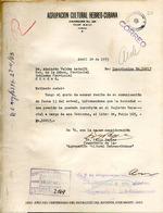 Carta del Agrupación Cultural Hebreo-Cubana en 24 de abril