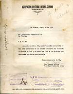 Carta del Agrupación Cultural Hebreo-Cubana en 20 de abril