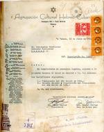 Carta del Agrupación Cultural Hebreo-Cubana en 16 de junio