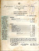 Agrupación Cultural Hebreo-Cubana : estado de ingresos y egresos periodo social que termina en 5 de abril de 1954