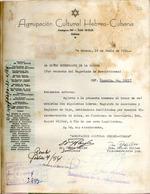 Carta del Agrupación Cultural Hebreo-Cubana en 18 de junio de 1954