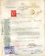 Carta del Agrupación Cultural Hebreo-Cubana en 30 de junio de 1955