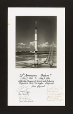 Photograph of rocket launch with autographs to commemorate 25th anniversary of Freedom 7