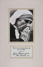 Photograph and blessing of Mother Theresa