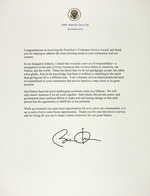 Congratulation note from the White House on receiving The President's Volunteer Service Award, signed by President Barack Obama