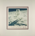 Picture of Neil Amstrong [?] in space suite on the Moon during mission Apollo 11, dedicated to Henri Landwirth, signed by Neil Amstrong