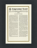 A framed Congressional Record