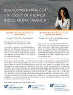Flyer for Kim Robinson-Walcott, University of The West Indies, Mona Jamaica: Two Presentations
