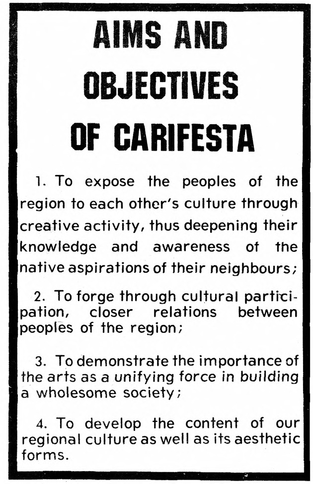 Aims and objectives of CARIFESTA