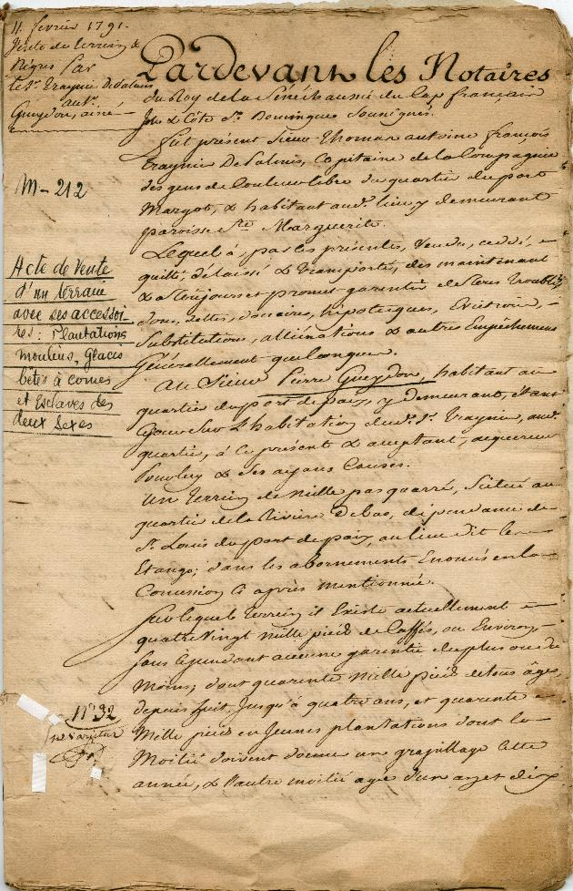 A Contract for the Sale of Land and Slaves, 11 February 1791 - Page 1