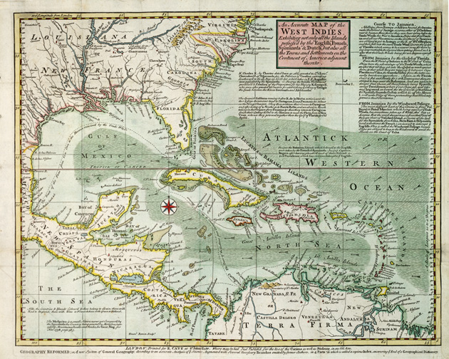 An accurate map of the West Indies. Exhibiting not only all the islands posses'd by the English, French, Spaniards & Dutch, but also all the towns and settlements on the continent of America adjacent thereto.