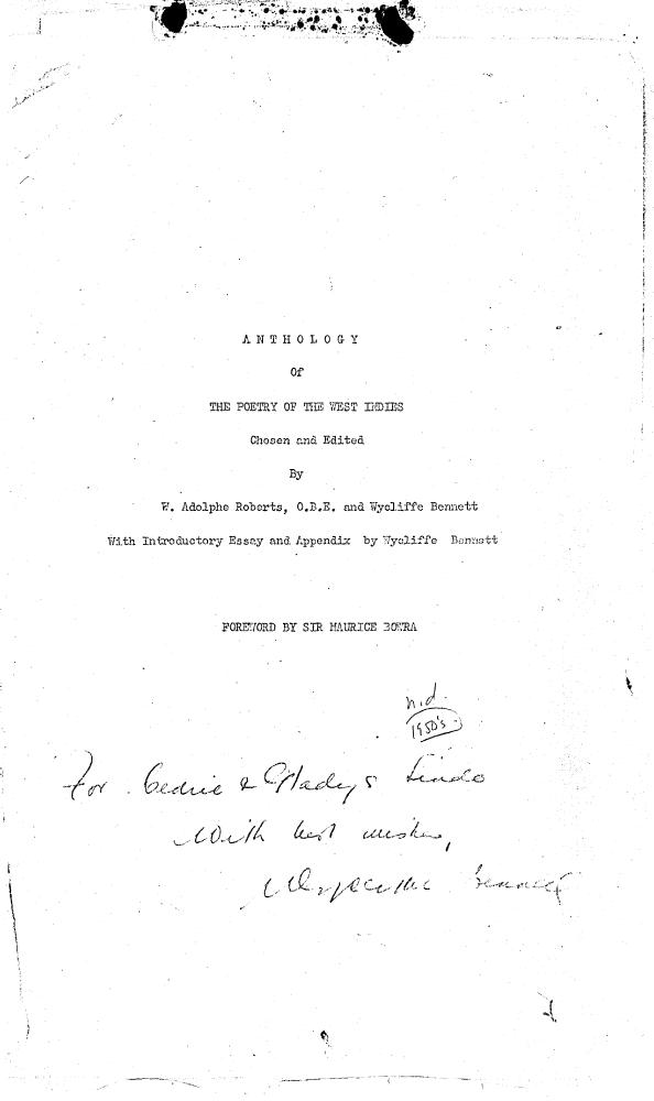 Anthology of the poetry of the West Indies - Title Page