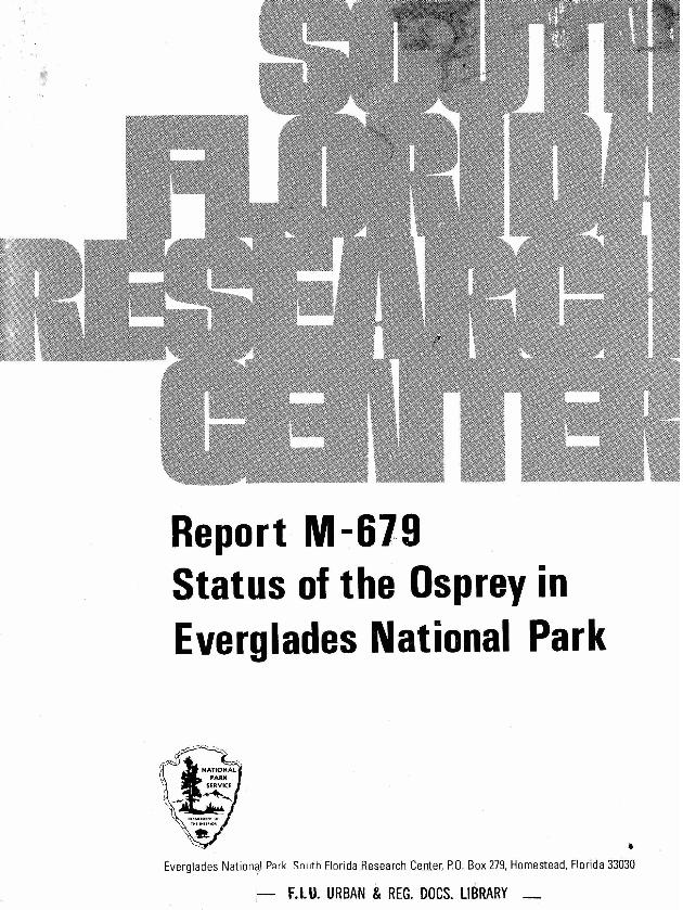 Report T-679, Status of the Osprey in Everglades National Park - Page 1