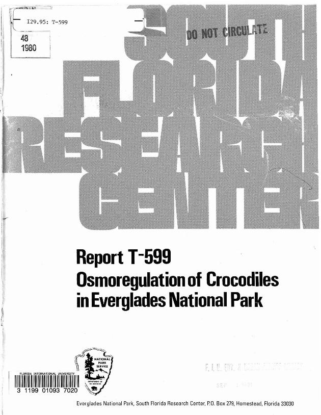 Report T-599, Osmoregulation of Crocodiles in Everglades National Park - Page 1