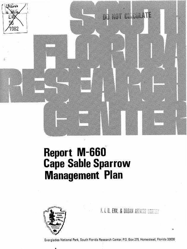 Report M-660, Cape Sable Sparrow Management Plan - Page 1