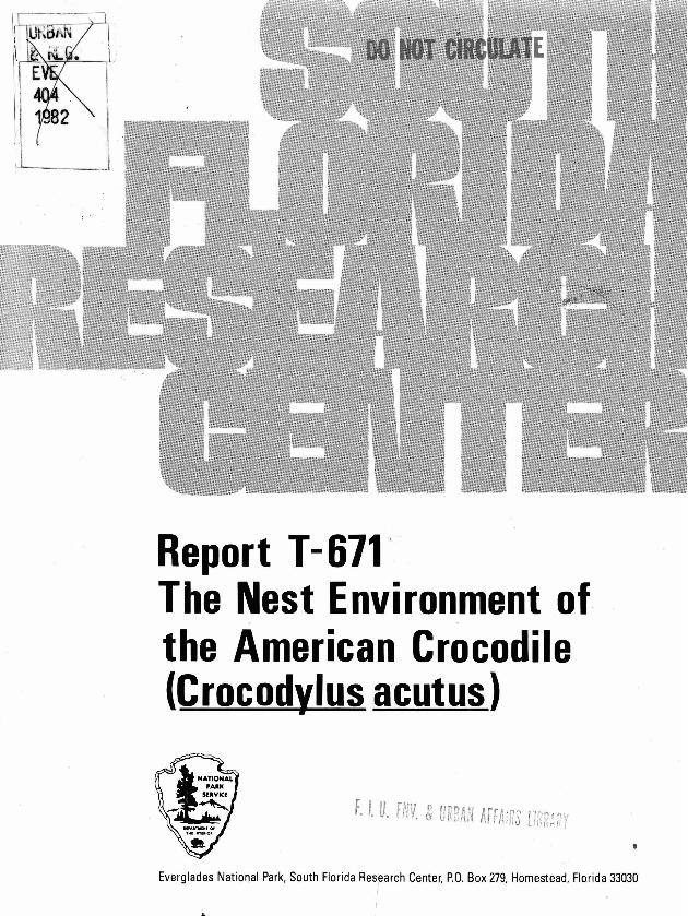 Report T-671, The Nest Environment of the American Crocodile (Crocodylus acutus) - Page 1