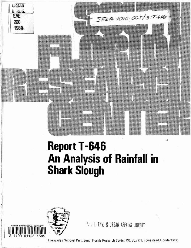 Report T-646, An Analysis of Rainfall in Shark Slough - Page 1