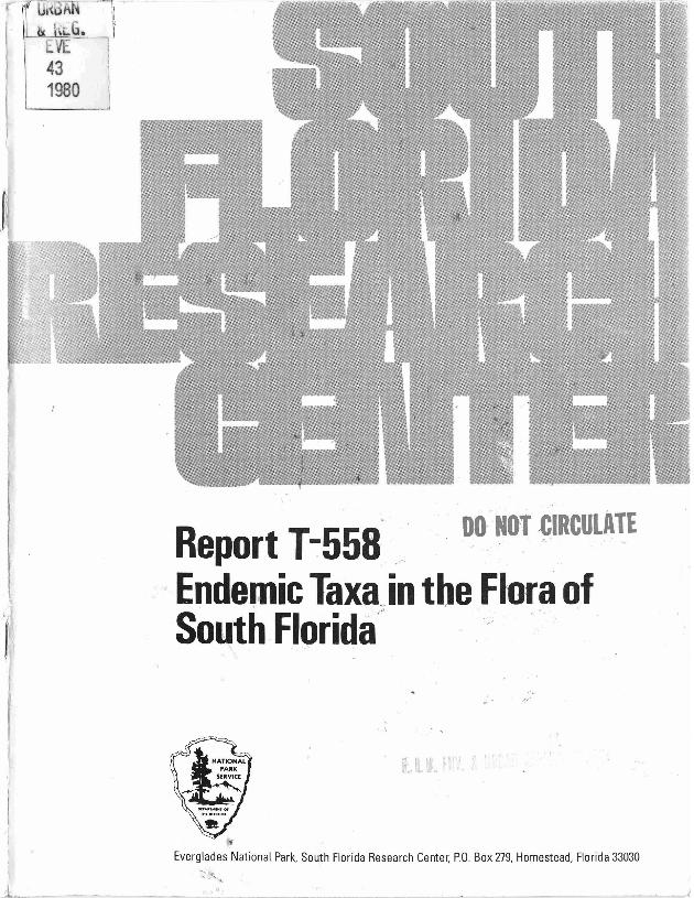 Report T-558, Endemic Taxa in the Flora of South Florida - Page 1