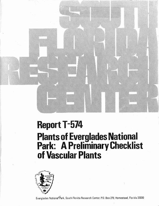 Report T-574, Plants of Everglades National Park: A Preliminary Checklist of Vascular Plants - Page 1