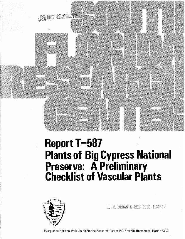 Report T-587, Plants of Big Cypress National Preserve: A Preliminary Checklist of Vascular Plants - Page 1