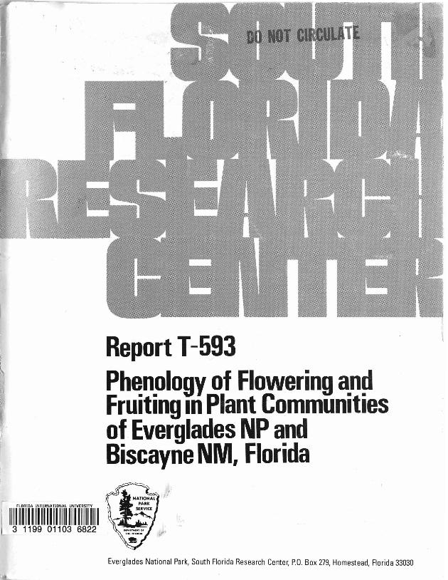 Report T-592, A Survey of Fire History and Impact in Tropical Hardwood Hammocks in the East Everglades and Adjacent Portions of Everglades National Park - Page 1