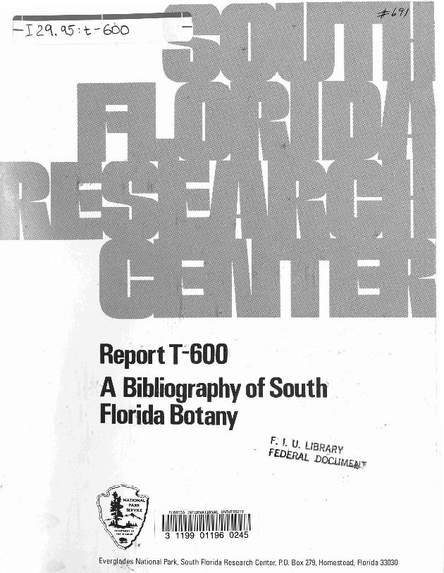 T-600, A bibliography of South Florida Botany - Page 1