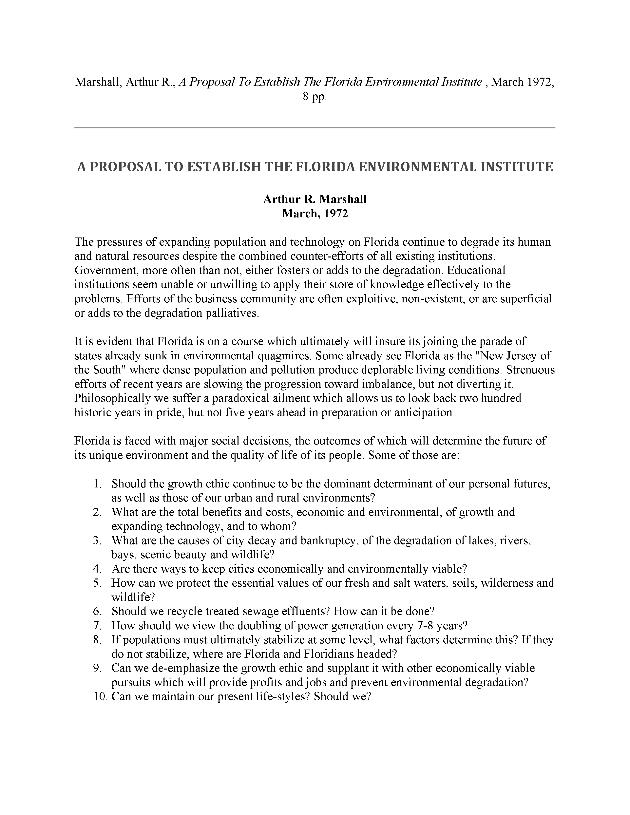 A proposal to establish the Florida Environmental Institute - Page 1