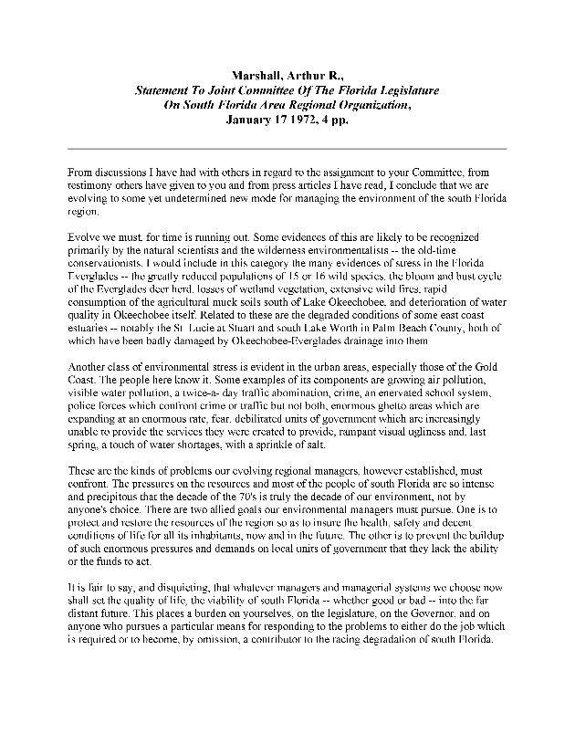 Statement to Joint Committee of the Florida Legislature on South Florida Area Regional Organization - Page 1