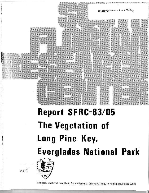 SFRC-83/05, The Vegetation of Long Pine Key, Everglades National Park - Page 1