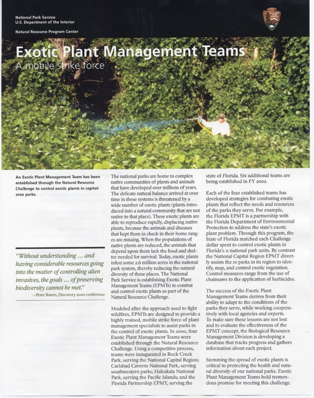 Exotic Plant Management Teams Factsheet - Page 1