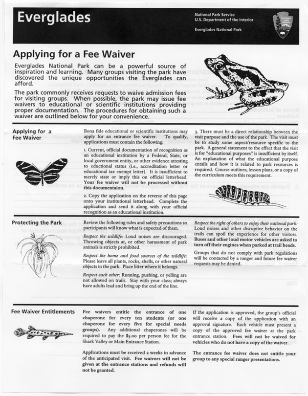 Everglades: Applying for a Fee Waiver - Page 1