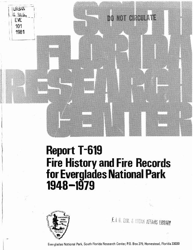 Report T-619, Fire History and Fire Records for Everglades National Park, 1948-1979 - Page 1