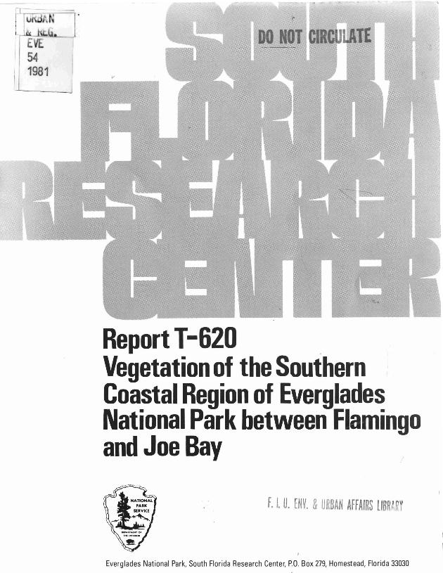 Report T-620, Vegetation of the Southern Coastal Region of Everglades National Park Between Flamingo and Joe Bay - Page 1
