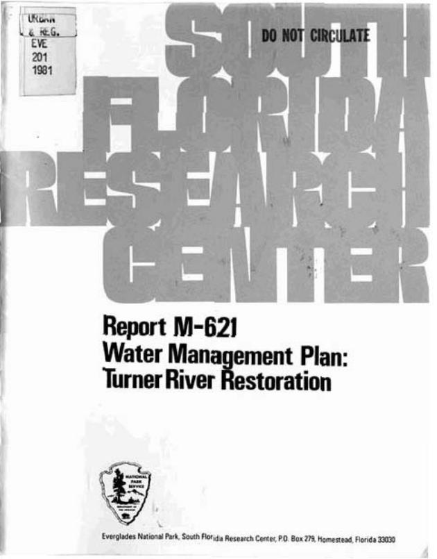 Report M-621, Water Management Plan: Turner River Restoration - Page 1