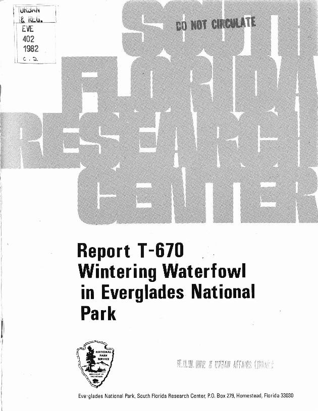 Report T-670, Wintering Waterfowl in Everglades National Park - Page 1