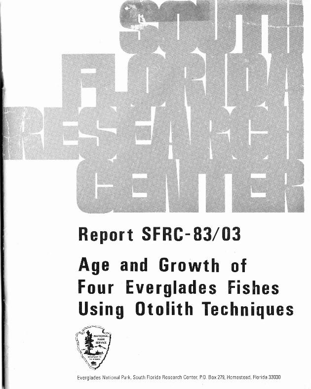 SFRC-83/03, Age and Growth of Four Everglades Fishes Using Otolith Techniques - Page 1