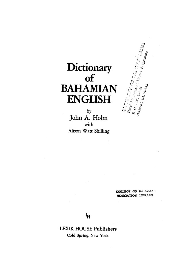Dictionary of Bahamian English - Title Page 1