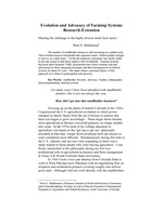 Evolution and Advocacy of Farming Systems Research-Extension