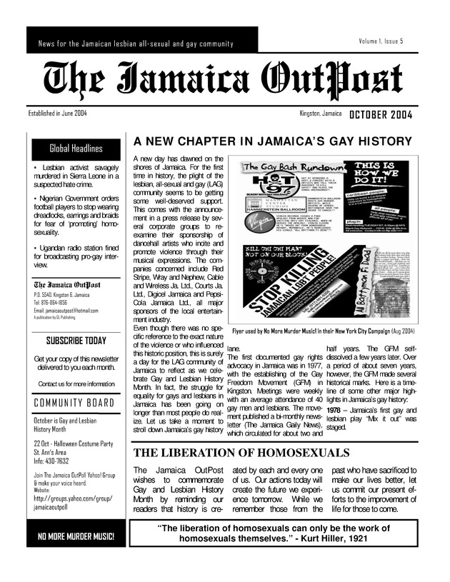 The Jamaica Outpost - Page 1