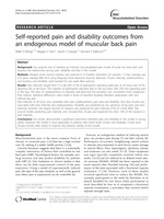 Self-reported pain and disability outcomes from an endogenous model of muscular back pain