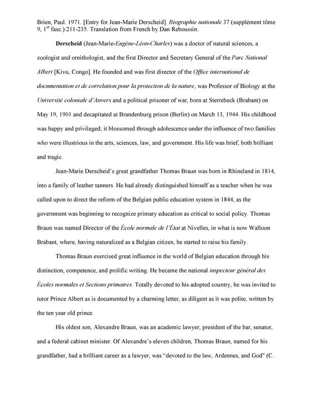 Biography of Jean-Marie Derscheid - Page 1