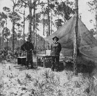 A View of Brigader General Robert H. Hull and his encampment in Tampa during the Spanish American War.