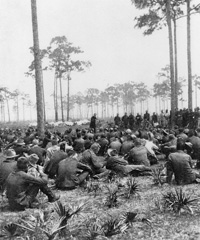 Chaplain Brown preaching to the regiment.