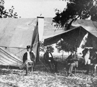 Soldiers in their military camp in Tampa awaiting transfer to the Spanish American War.
