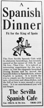 A Newspaper advertisment for the Sevilla Spanish Cafe.