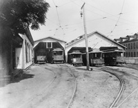 The Ybor City Trolley Car Barn with the Lovera Factory on the right.