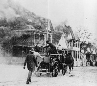 A Horse-drrawn fire engine roars to the scene of one of the many breakouts during the Ybor City Fire of 1908.